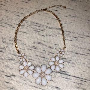 Gold white flower statement necklace